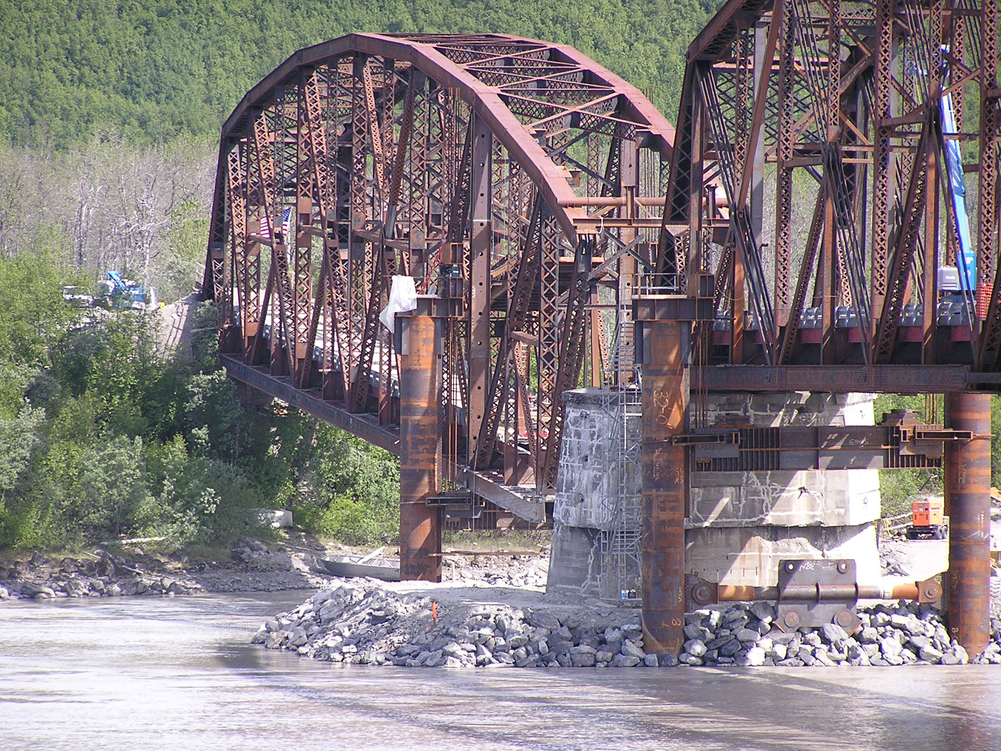 Repairs to the damaged Miles Glacier Bridge, Summer 2004